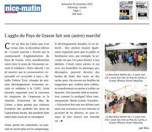 2014-11-30 Article de Nice-Matin : L'agglo du Pays de Grasse fait son (autre) marché