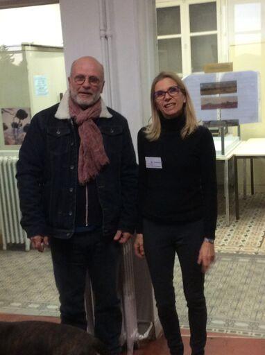Photo de la présidente du Repair Café Pays de Grasse, Pascale Moinet et de Monsieur Bonelli en charge du quartier Saint Claude de Grasse